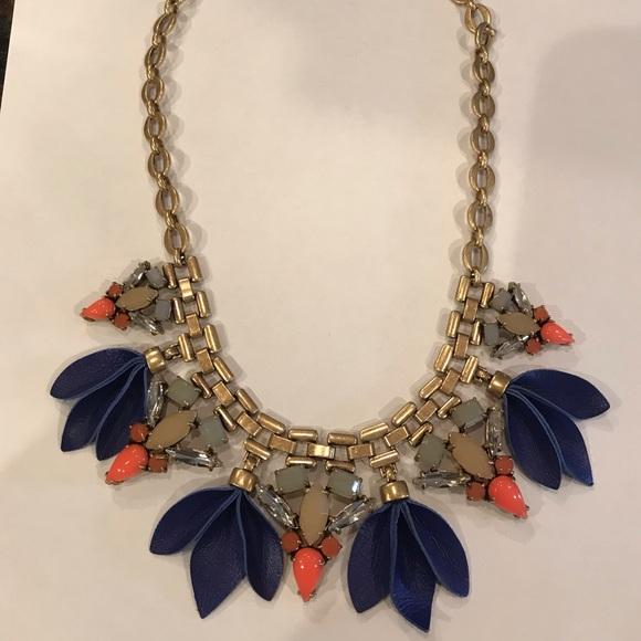 Stella & Dot Jewelry - NWOT Stella & Dot gold necklace, leather/stones